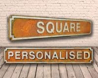 Personalised Square Shape Wooden Street Sign Rust Finish